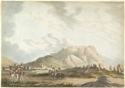 View of Nandidrug (Mysore) with three English soldiers in the foreground and two Indian horsemen in the middle distance.  Between 1790 and 1792